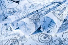 Technical drawings. In a blue toning royalty free stock photo