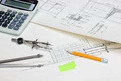 Technical drawings and  calculator Stock Photography