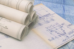 Technical drawings. Old Blueprints of apartments, houses buildings Royalty Free Stock Photography