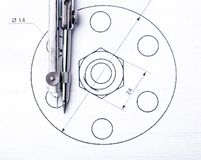 Technical drawings. Project by pencil on paper. Drawing detail and drawing tools. Technical drawings. Design drawings. Project by pencil on paper. Drawing detail stock image