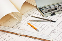 Technical drawings and slide rule Royalty Free Stock Photos