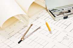 Technical drawings and slide rule Royalty Free Stock Photo