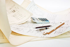 Technical drawings and slide rule Royalty Free Stock Images