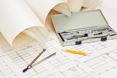 Technical drawings and slide rule Royalty Free Stock Image