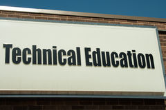 Technical Education Sign. On a wall for a vocational re-education school stock image