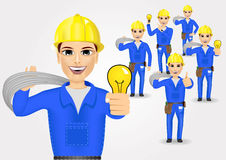 Technical, electrician or mechanic in poses Royalty Free Stock Photo