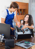 Technical engineer upgrading hardware of client computer Stock Photography