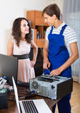 Technical engineer upgrading hardware of client computer Stock Images