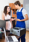 Technical engineer upgrading hardware of client computer Stock Photos
