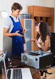 Technical engineer upgrading hardware of client computer Stock Image