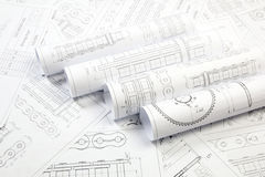 Technical Engineering drawings. Technical drawing of driving roller chain. Engineering, technology and metalworking Royalty Free Stock Image