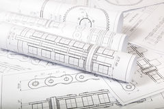 Technical Engineering drawings. Technical drawing of driving roller chain. Engineering, technology and metalworking Royalty Free Stock Photo