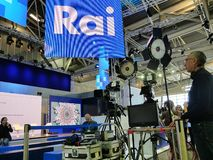 Technical equipment of italian national television broadcaster RAI on set stock photo