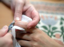 Technical execution of classical manicure Stock Image