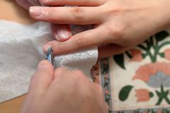 Technical execution of classical manicure. On foot Stock Photography