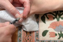 Technical execution of classical manicure. On foot Royalty Free Stock Photos