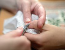 Technical execution of classical manicure Stock Photo