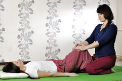 Technical execution of Thai massage. Technical execution of the Thai massage Royalty Free Stock Images