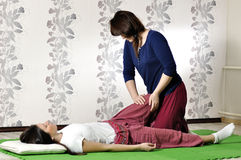 Technical execution of Thai massage. Technical execution of the Thai massage Royalty Free Stock Photos