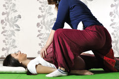 Technical execution of Thai massage. Technical execution of the Thai massage Stock Photo