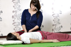 Technical execution of Thai massage. Technical execution of the Thai massage Royalty Free Stock Photo