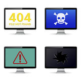Technical failure message on computer screens Royalty Free Stock Photos