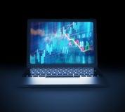 Technical financial graph on laptop screen 3d illustration. Financial stock market graph on  laptop screen 3d illustration Royalty Free Stock Image