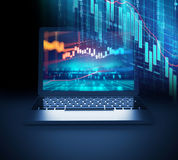 Technical financial graph on laptop screen 3d illustration. Financial stock market graph on on laptop screen 3d illustration Royalty Free Stock Photos