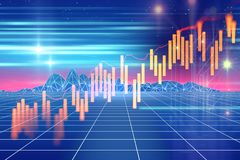 Technical financial graph on technology abstract background. Financial stock market graph on technology abstract background Stock Image