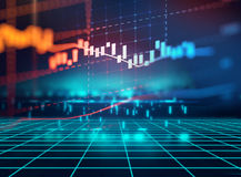 Technical financial graph on technology abstract background Royalty Free Stock Photos