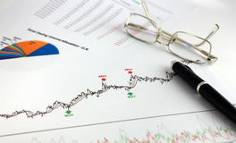 Technical and fundamental analysis. Financial analysis of charts and statistics on white printed paper Royalty Free Stock Image