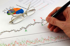 Technical and fundamental analysis. Financial analysis of charts and statistics on white printed paper Royalty Free Stock Photos