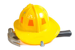 Technical hat with hammer. Isolate on white Stock Images