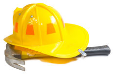 Technical hat with hammer. Isolate on white Royalty Free Stock Photos