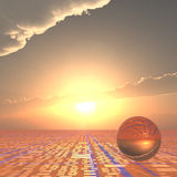 Technical Horizon Forecast. A grid horizon and bright sun background with a crystal ball.  Abstract concept to looking forward to technical future Royalty Free Stock Images