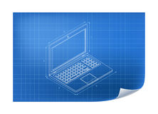 Technical Illustration with laptop drawing Royalty Free Stock Image
