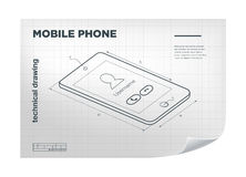 Technical Illustration with mobile phone drawing on the white blueprint. Royalty Free Stock Image