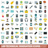 100 technical innovation icons set, flat style. 100 technical innovation icons set in flat style for any design vector illustration Royalty Free Stock Images