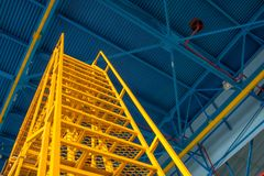 Technical ladder for maintenance of equipment in the hangar.  royalty free stock image