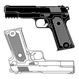 Technical Line Drawing of 9mm Pistol Gun Stock Photos