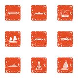 Technical mean icons set, grunge style. Technical mean icons set. Grunge set of 9 technical mean vector icons for web isolated on white background Stock Photo