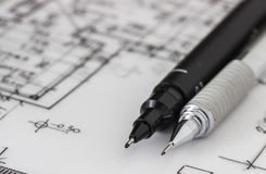 Technical and mechanical pen on drawing Royalty Free Stock Image