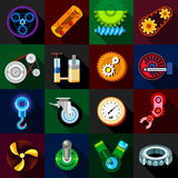 Technical mechanisms icons set, flat style Royalty Free Stock Photos