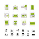 Technical, media and electronics icons. Icon set vector illustration
