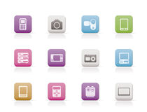 Technical, media and electronics icons. Icon set Royalty Free Stock Photos