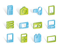 Technical, media and electronics icons Royalty Free Stock Image