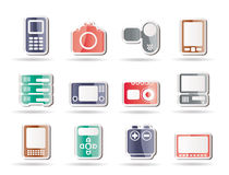 Technical, media and electronics icons. Icon set royalty free illustration