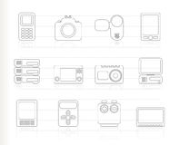 Technical, media and electronics icons - ic. On set vector illustration