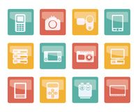 Technical, media and electronics icons over colored background. Vector icon set stock illustration