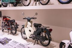 The technical museum in Vienna exhibits the exposition presents the history of the development of vehicles and motorbikes moped bi. VIENNA, AUSTRIA - 24 AUGUST Stock Photography